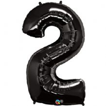 "Black Number 2 Balloon - Foil Number Balloon 1pc (34"" Qualatex)"